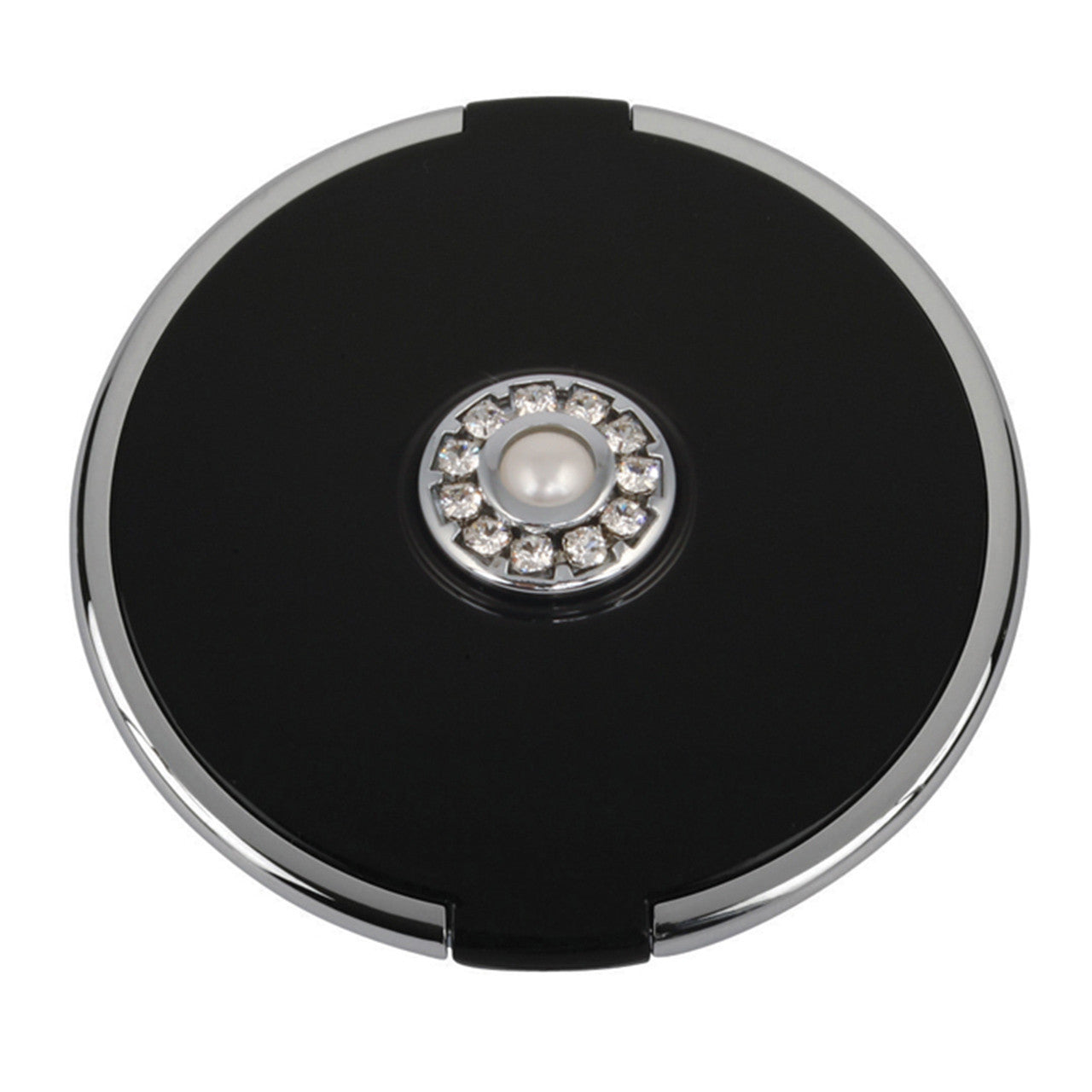 Fancy Metal Goods Pearl & Crystal Compact Round Black with 5X Magnification