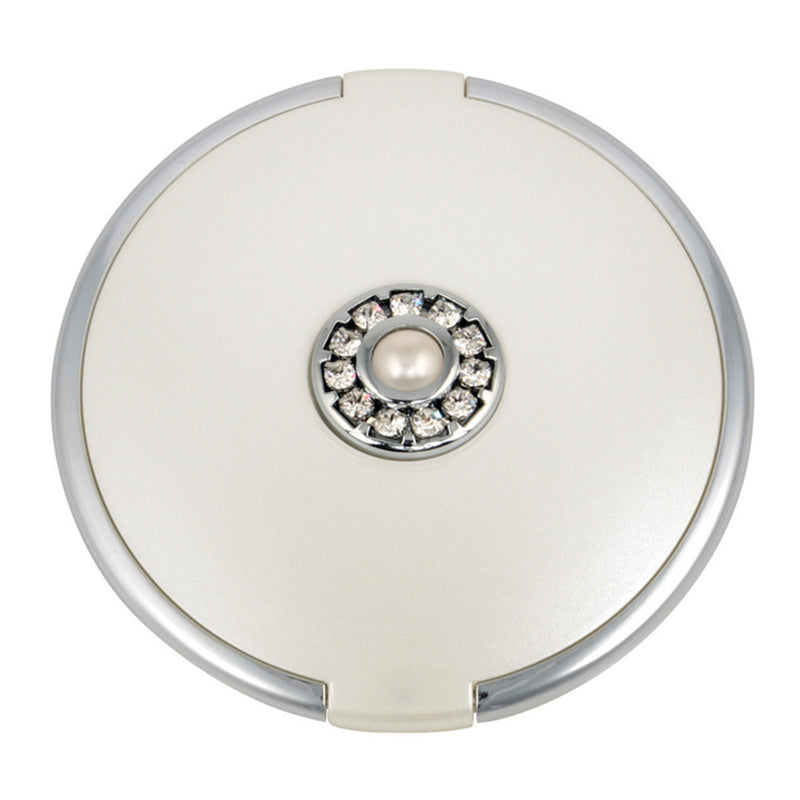 Fancy Metal Goods Pearl & Crystal Compact - Round