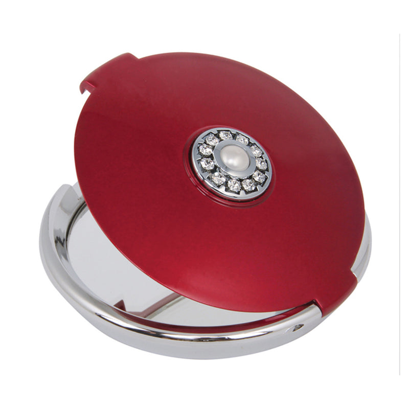 Fancy Metal Goods Pearl & Crystal Compact Round Ruby