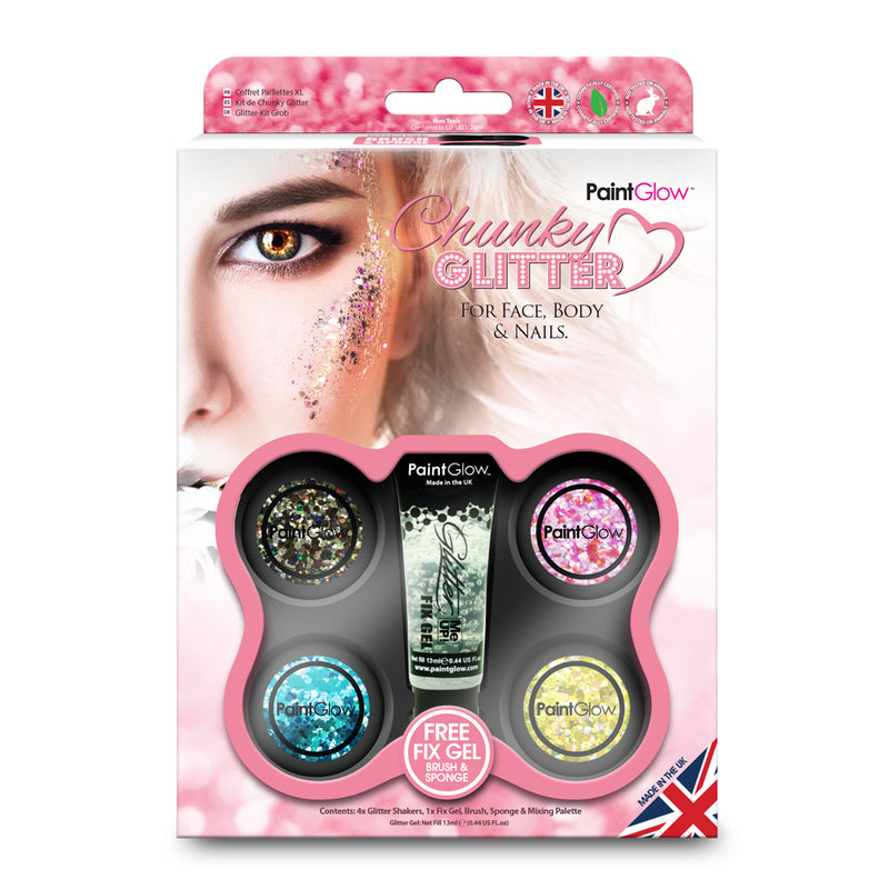 PaintGlow Chunky Cosmetic Glitter Boxset for Face, Body and Nails