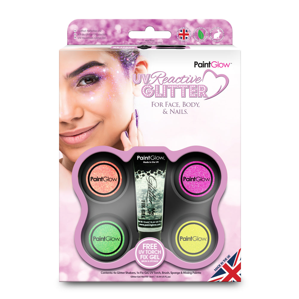 PaintGlow UV Reactive Glitter Boxset for Face, Body and Nails