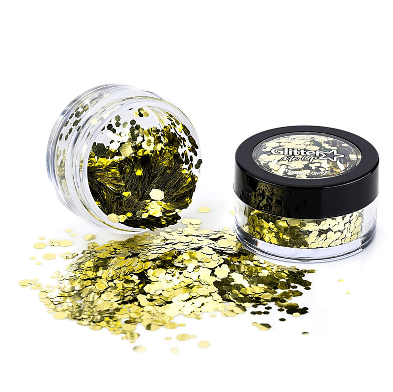 PaintGlow Metallic Chunky Glitter 3g – Vegan Cosmetic Glitter for Face, Body, Nails, Hair and Lip