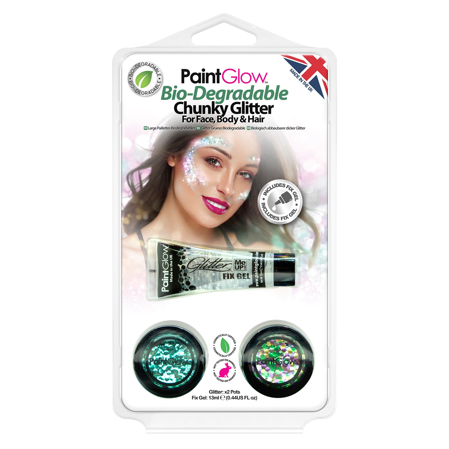 PaintGlow Bio-Degradable Chunky Glitter for Face, Body & Hair (Pack 1)