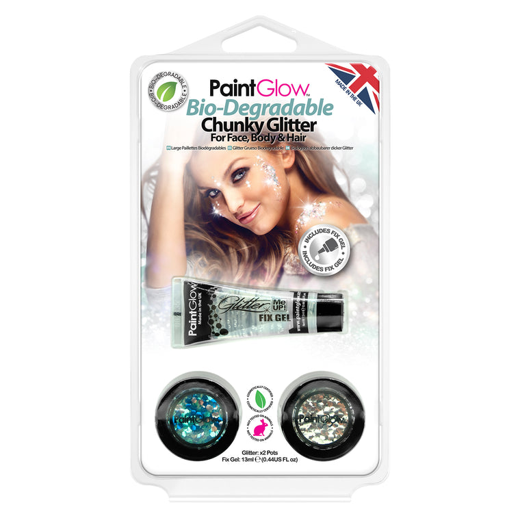 PaintGlow Bio-Degradable Chunky Glitter for Face, Body & Hair (Pack 3)