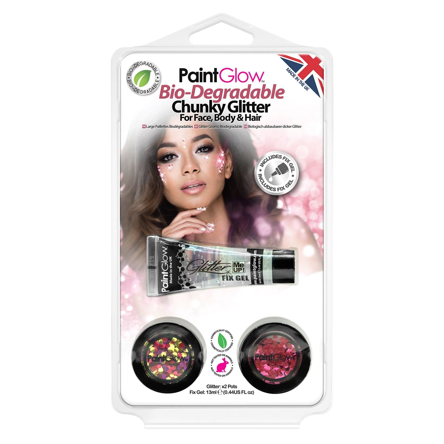 PaintGlow Bio-Degradable Chunky Glitter for Face, Body & Hair (Pack 5)