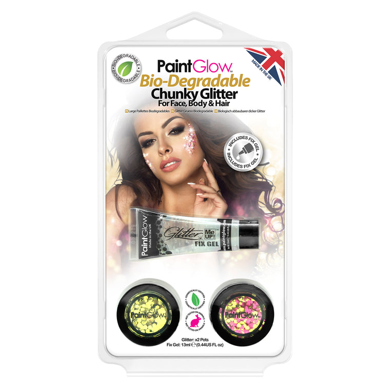 PaintGlow Bio-Degradable Chunky Glitter for Face, Body & Hair (Pack 6)