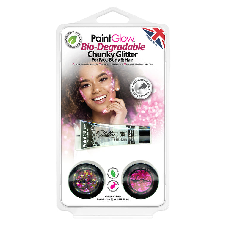 PaintGlow Bio-Degradable Chunky Glitter for Face, Body & Hair (Pack 8)