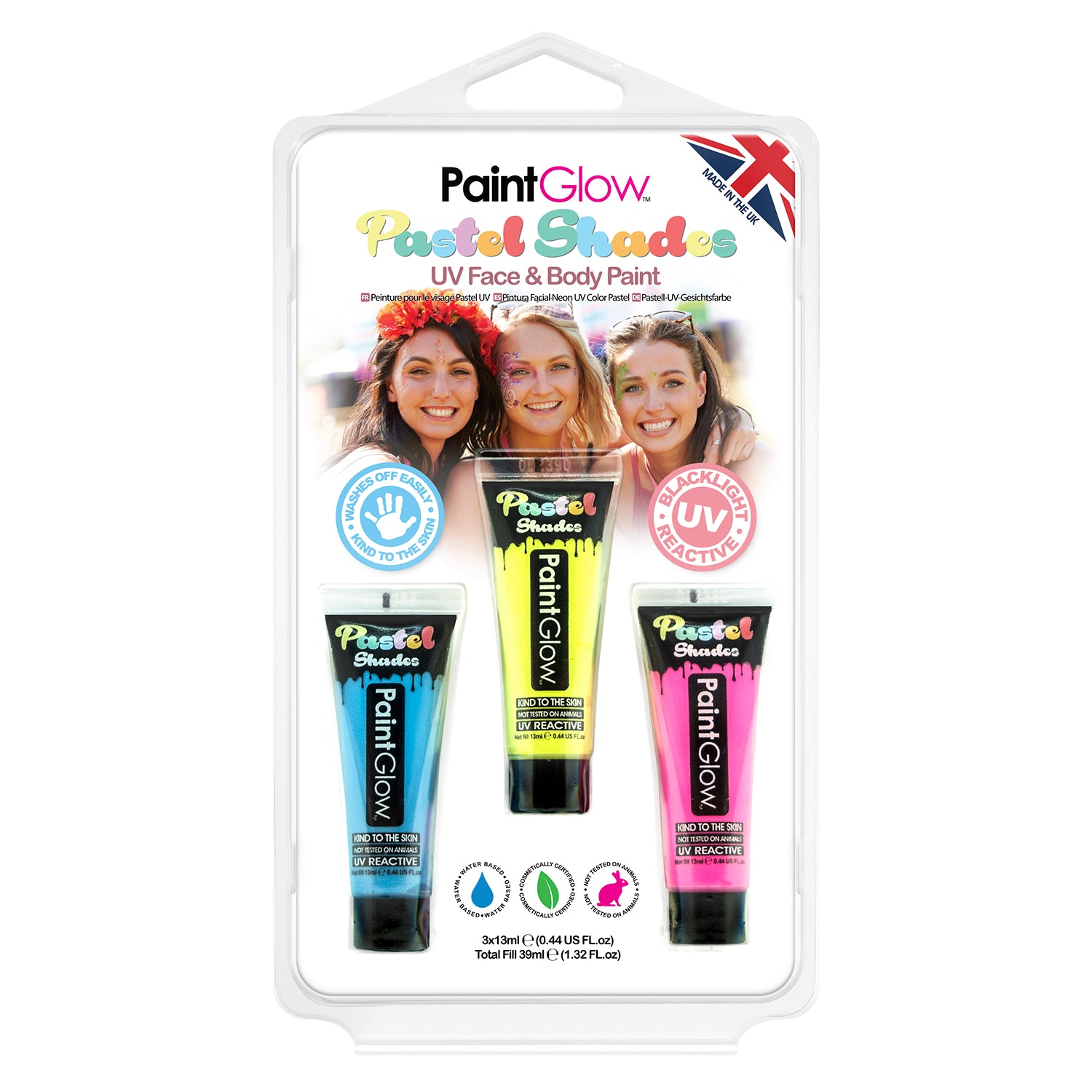 PaintGlow Pastel UV Face & Body Paint (Pack 1)