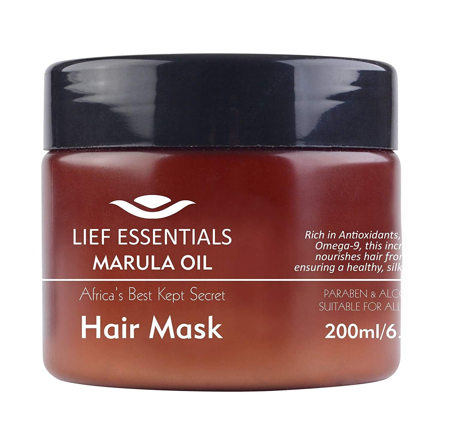 LIEF ESSENTIALS Hair Mask with Pure Organic African Marula Oil. Suitable For All Hair Types. Cruelty-free. 200ml