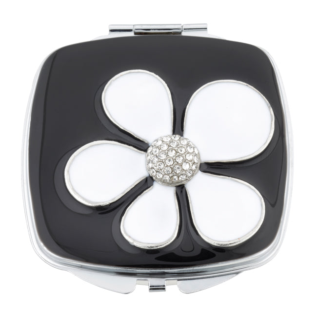 Fancy Metal Goods Crystal Mirror Compact 'White Daisy' with Crystal Centre