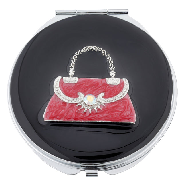 Fancy Metal Goods Compact Mirror with Red Handbag Design of Swarovski Crystals and Pearl