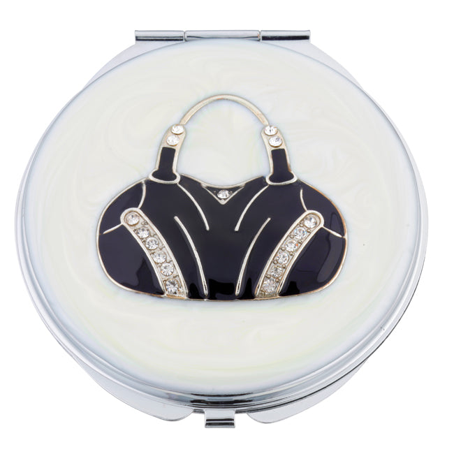 Fancy Metal Goods Crystal Mirror Compact 'Black Handbag'