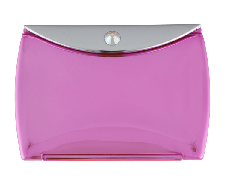 Fancy Metal Goods Metallic Pink Mirror Compact Envelope 3x Mag with Swarovski Crystal Elements