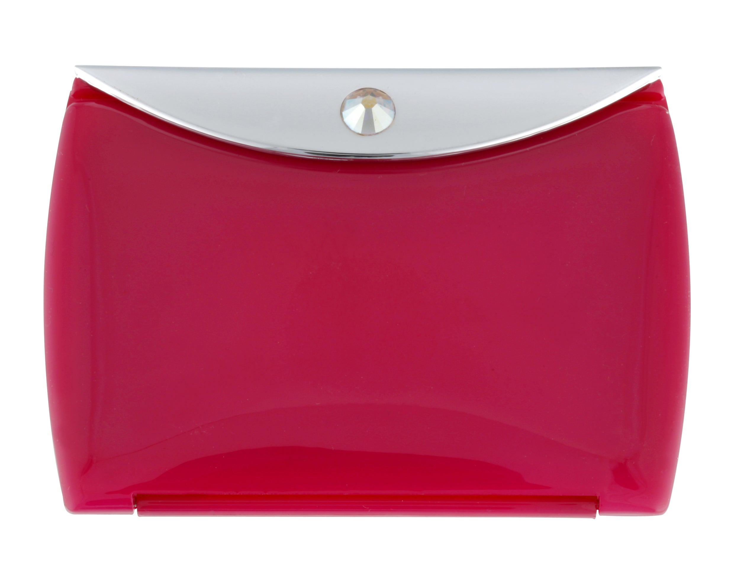 Fancy Metal Goods Pink Mirror Compact Envelope 3x Mag with Swarovski Crystal
