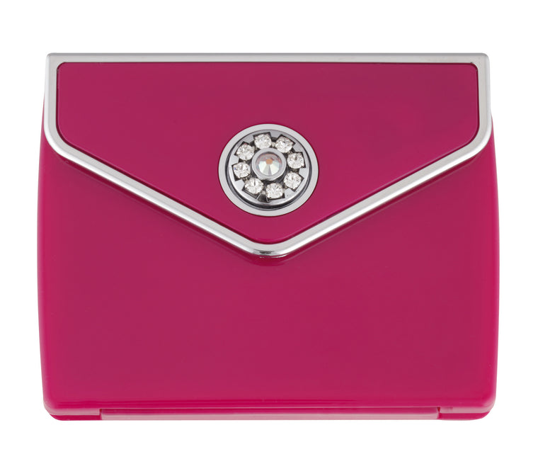 Fancy Metal Goods Tri fold Envelope 5x Mirror Compact with Swarovski crystal elements - Pink