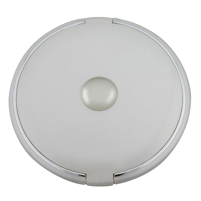 Fancy Metal Goods Round Mirror Compact 5X Magnification White