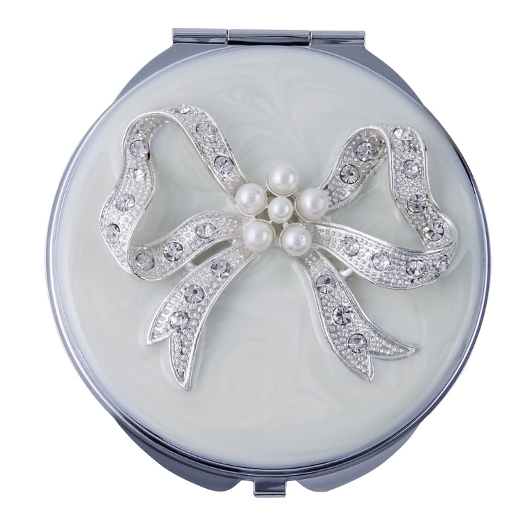 Fancy Metal Goods Crystal and Pearl Mirror Compact 'Bow'