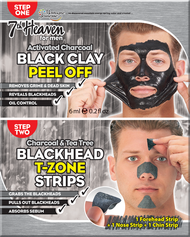 7th Heaven Men's Black Clay Peel Off / Blackhead T-Zone Strips Duo Sachets