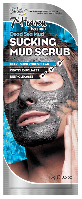 7th Heaven Dead Sea Mud Sucking Mud Scrub for Men with Dead Sea Salt and Orange Oil to Cleanse and Exfoliate Pores - Ideal for All Skin Types