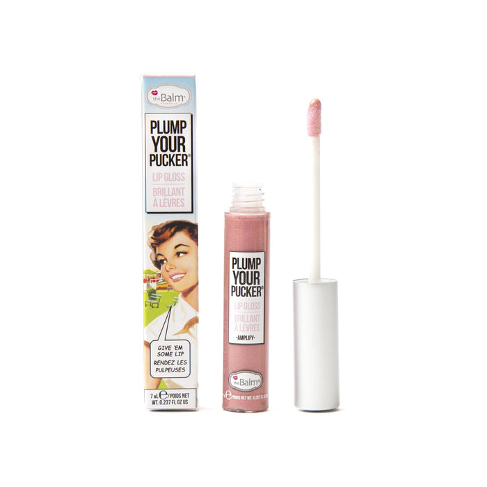theBalm cosmetics PLUMP YOUR PUCKER® Lip Gloss Amplify - Pale Pink Glitter