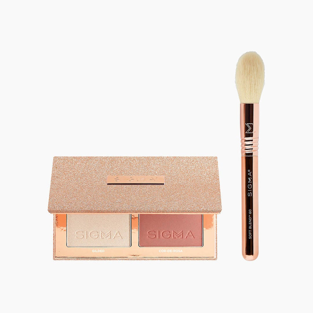 Sigma Rose Glow Cheek Duo - Highlighter and Blush with Travel Brush