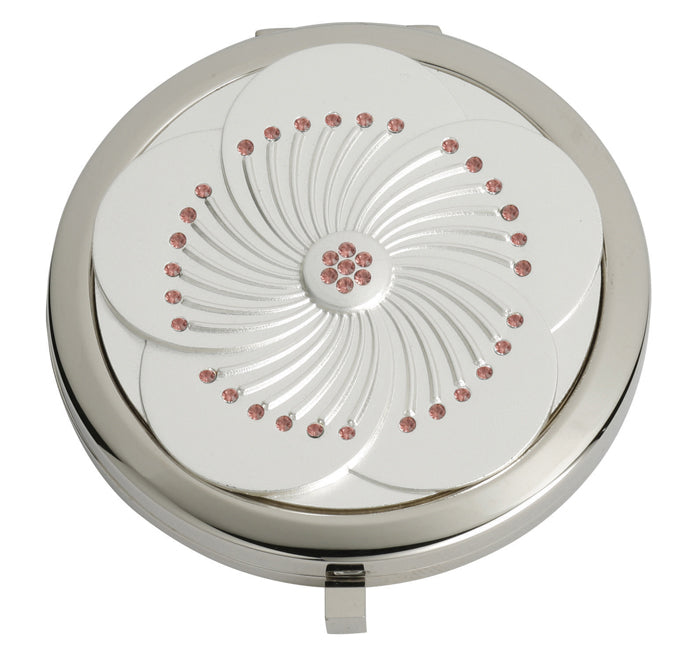 Fancy Metal Goods White Flower with Light Rose Swarovski Crystal Mirror Compact
