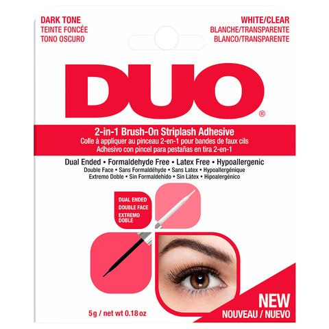 DUO 2-in-1 Brush-on Strip Lash Adhesive White/Clear + Dark Tone (5g)