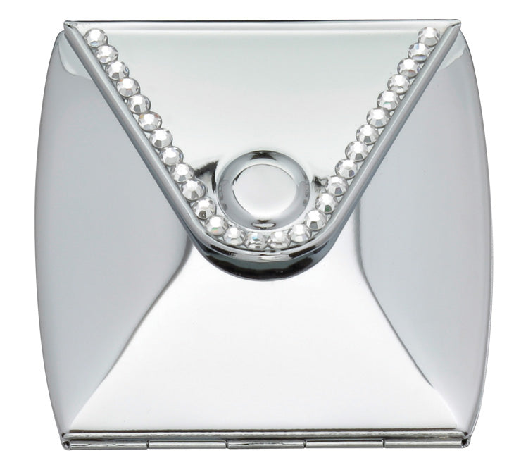 Fancy Metal Goods Mirror Compact Envelope with Crystals For Engraving