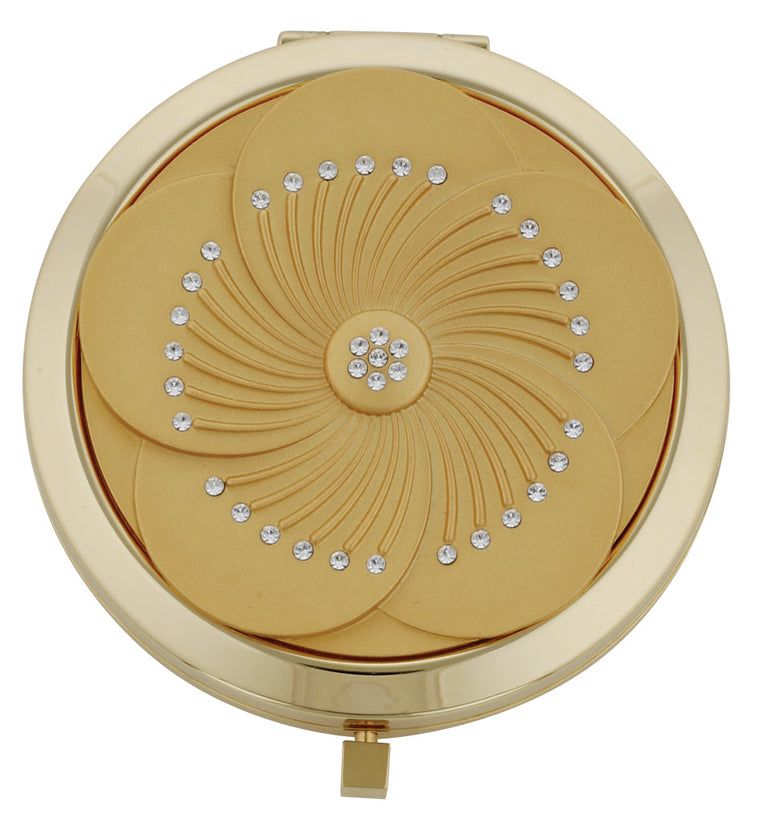 Fancy Metal Goods Gold Flower Mirror Compact with Swarovski Crystal