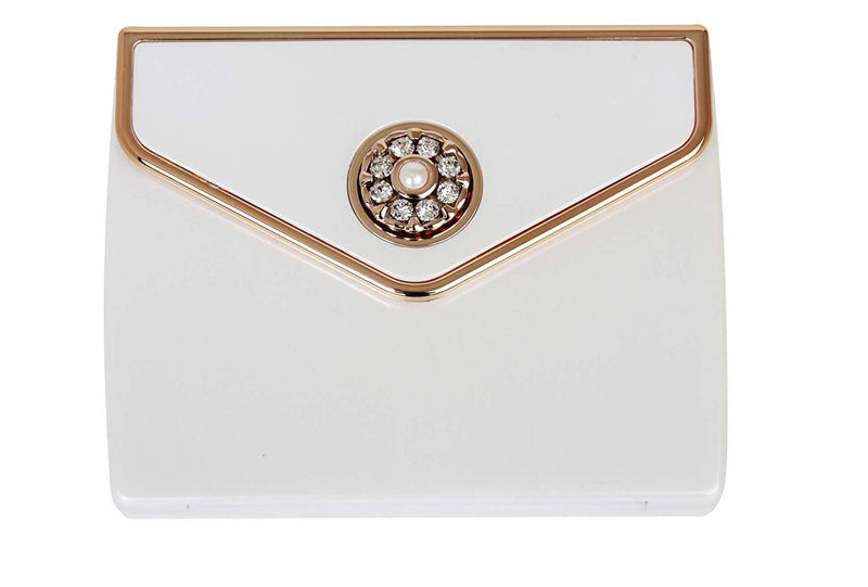 Swarovski Pearl And Crystal Pearl and Rose Gold Oblong Double Mirror Compact Incl 5X Mirror