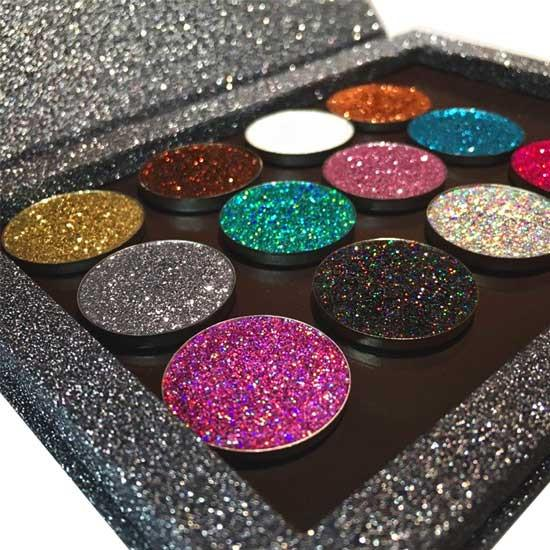 Prima Makeup Pressed Glitter Eyeshadow Lips Set - Twinkling Twelve Collection