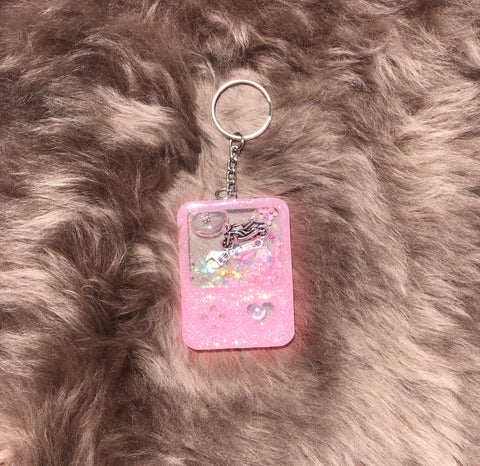 Pink Gamer Motorcycle Key Chain Shaker
