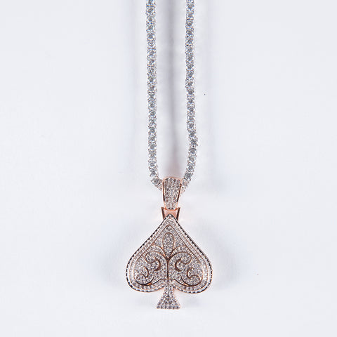 Rose Gold Vermeil Ace Pendant .925 - Gold plated uk