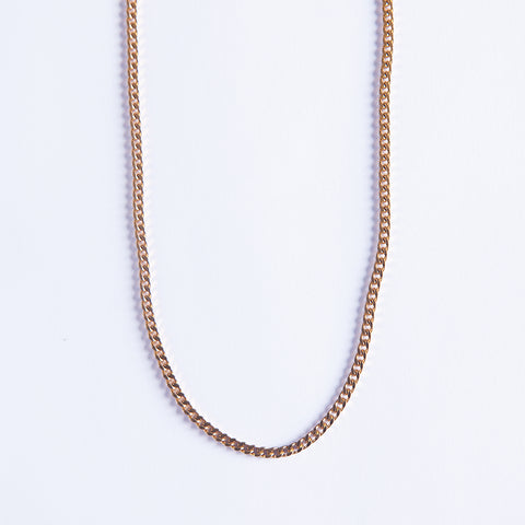 3mm Gold Cuban Chain - Gold plated uk