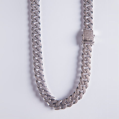 12mm Silver Iced Out Cuban Chain - Gold plated uk