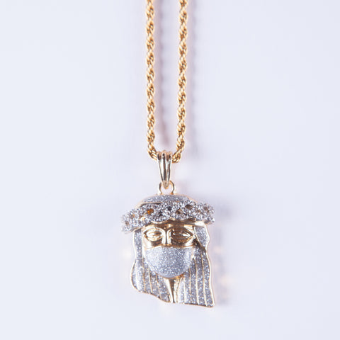 Jesus Balaclava Pendant - Gold plated uk