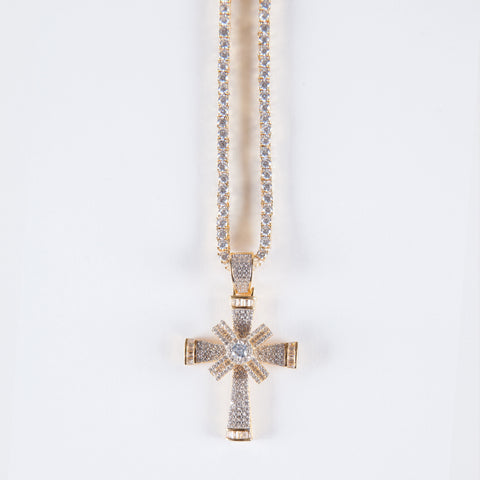 Gold Vermeil Cross Spinning Pendant .925 - Gold plated uk