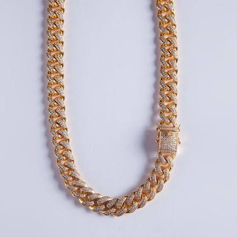 12mm Iced Out Cuban Chain - Gold plated uk