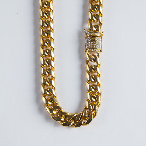 15mm Cuban Link Chain - Gold plated uk