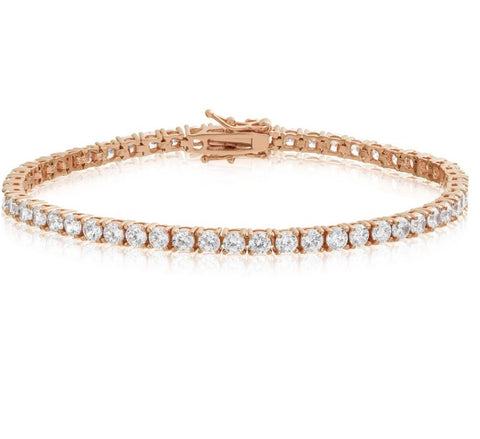 4mm Rose Gold Tennis Bracelet - Gold plated uk