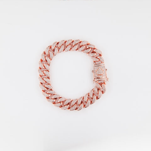 Rose 12mm Iced Cuban Bracelet
