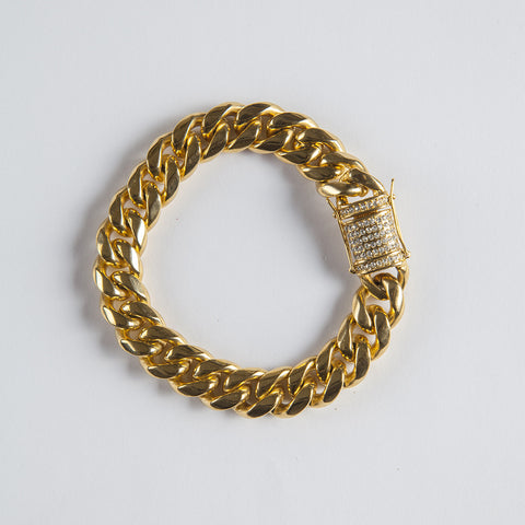 15mm Cuban Link bracelet - Gold plated uk