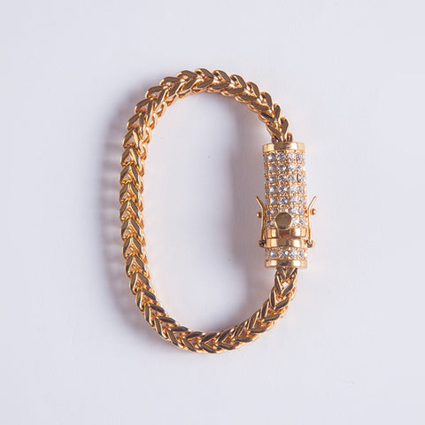 8mm Franco Bracelet - Gold plated uk