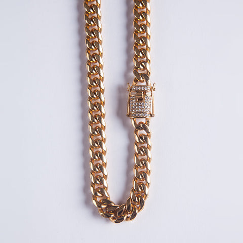 10mm Cuban Chain - Gold plated uk