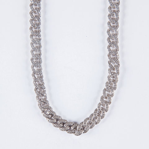 Sterling Silver 8mm Iced Cuban Chain .925 - Gold plated uk