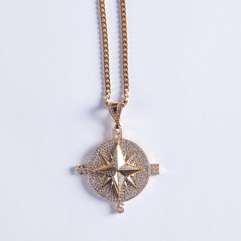 Gold Compass Pendant - Gold plated uk
