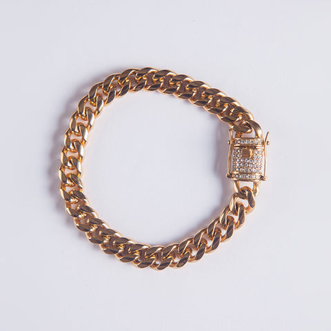 10mm Cuban Bracelet - Gold plated uk