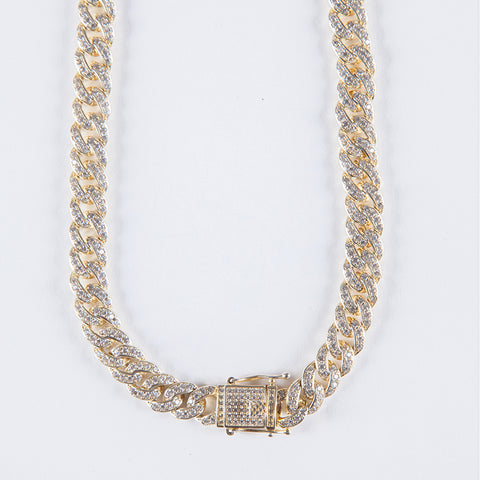 Gold Vermeil 8mm Iced Cuban Chain .925 - Gold plated uk