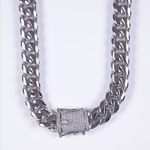 15mm Silver Miami Cuban Link Chain - Gold plated uk