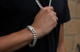 12mm Set Silver Iced Out Bracelet + Chain - Gold plated uk